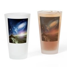 Colliding galaxies, artwork - Drinking Glass