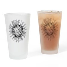 H1N1 flu virus particle, artwork - Drinking Glass