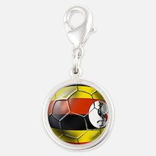 Uganda Football Silver Round Charm