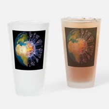 Global flu pandemic, artwork - Drinking Glass