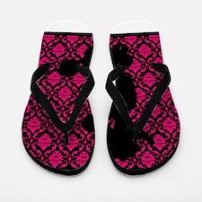Poodle Silhouette on Pink and Black Damask Flip Fl