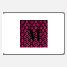 Personalizable Pink and Black Damask Initial Banne