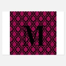 Personalizable Pink and Black Damask Initial Invitations