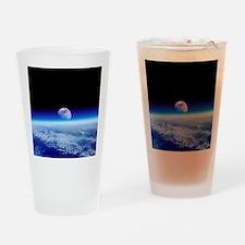 Moon rising over Earth's horizon - Drinking Glass