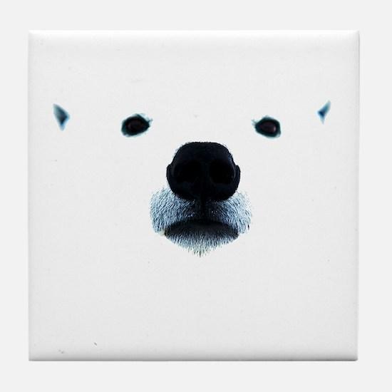 Polar Bear Face Tile Coaster