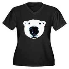 Polar Bear Sniff Women's Plus Size V-Neck Dark T-S