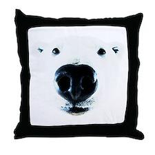 Polar Bear Sniff Throw Pillow