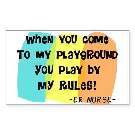 ER nurse my playground WHITES Sticker