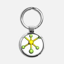 Sulphur hexafluoride molecule - Round Keychain
