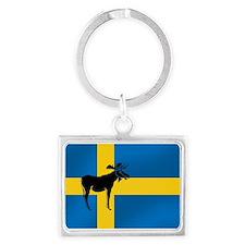 Sweden Elk / Moose Flag Landscape Keychain