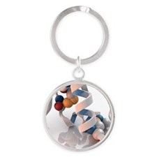 Insulin molecule - Round Keychain
