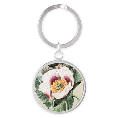 Lithograph of the opium poppy - Round Keychain