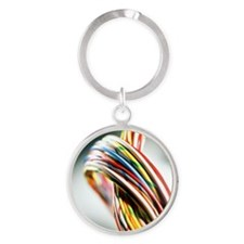 Computer cables - Round Keychain