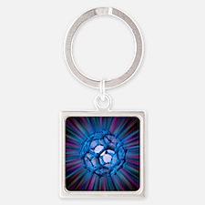 Buckyball molecule, artwork - Square Keychain