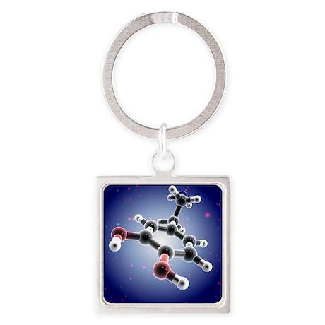 Dopamine, 3D molecular model - Square Keychain