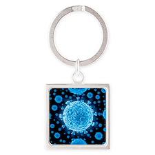 HIV virus particles, artwork - Square Keychain