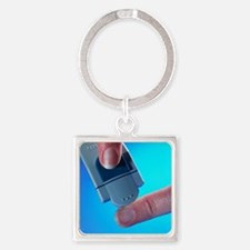 Blood glucose testing - Square Keychain