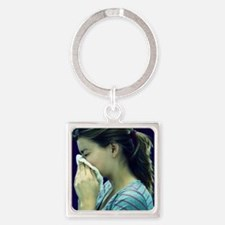 Woman blowing her nose - Square Keychain