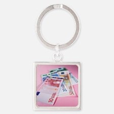 Euro bank notes - Square Keychain