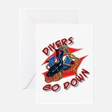 Divers Go Down Greeting Cards (Pk of 10)