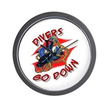 Divers Go Down Wall Clock