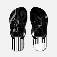 Whimsical Piano and musical notes Flip Flops
