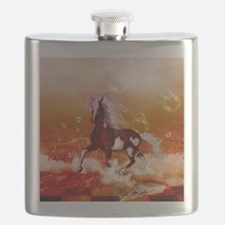 Beautiful horse on the beach in the night Flask
