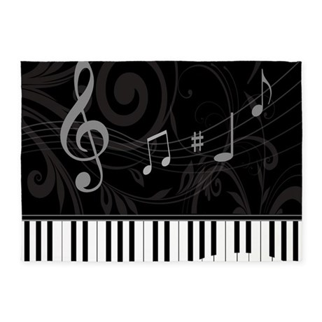 Whimsical Piano And Musical Notes 5 X7 Area Rug