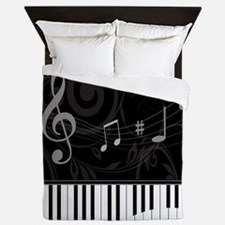 Whimsical Piano and musical notes Queen Duvet