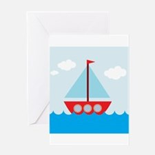 Cartoon Sail Boat in the Sea Greeting Card