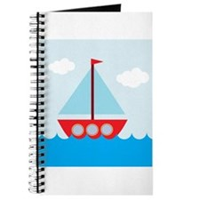 Cartoon Sail Boat in the Sea Journal