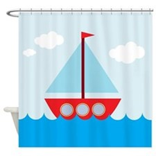 Cartoon Sail Boat in the Sea Shower Curtain