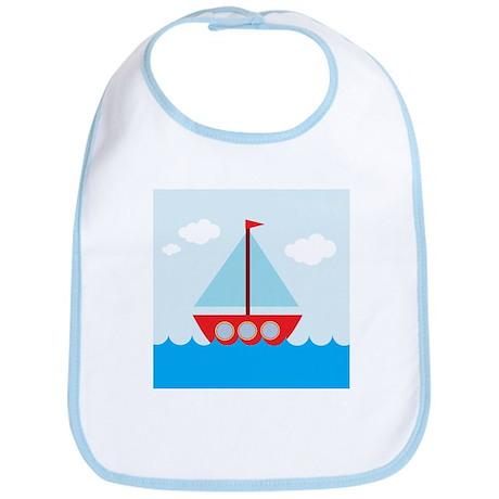 Cartoon Sail Boat in the Sea Bib