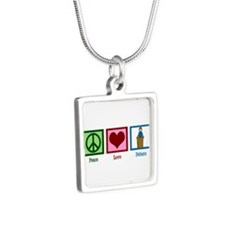 Peace Love Debate Silver Square Necklace