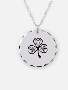 Celtic Shamrock Necklace Circle Charm