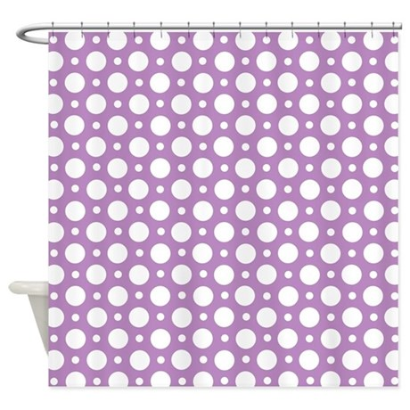 Polished Nickel Shower Curtain Rod Purple Polka Dot Luggage