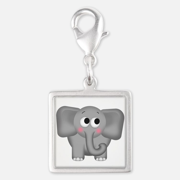 Adorable Elephant Silver Square Charm