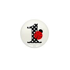 Ladybug First Birthday Mini Button (10 pack)