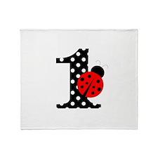 Ladybug First Birthday Throw Blanket
