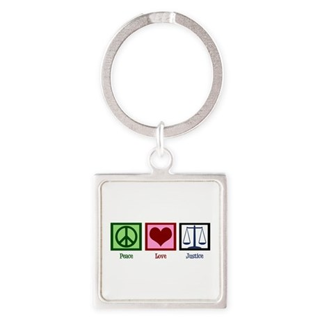 Peace Love Justice Square Keychain
