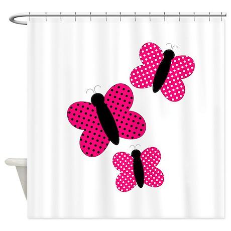 Pretty Pink And Black Butterflies Shower Curtain By BeachBumming