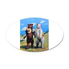 4 bears out west.png Oval Car Magnet