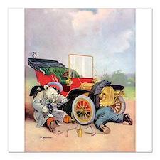 """7 broken down car bears .png Square Car Magnet 3"""""""