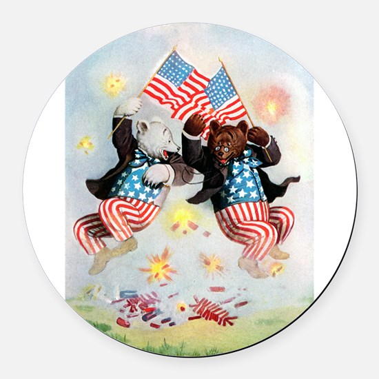 fourth of july bears.png Round Car Magnet