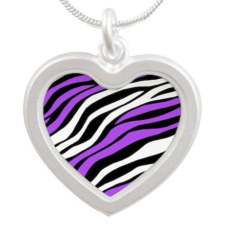 Zebra Print Mix Purple Silver Heart Necklace