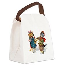 Cats Play Music in the Snow Canvas Lunch Bag