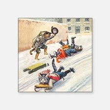"""Thiele Cats Sled 3_SQ.png Square Sticker 3"""" x 3"""""""