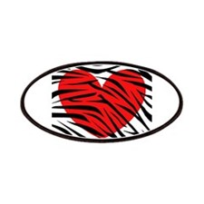 Red Heart in Zebra Stripes Patches