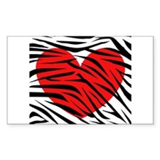 Red Heart in Zebra Stripes Decal