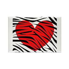 Red Heart in Zebra Stripes Rectangle Magnet (100 p